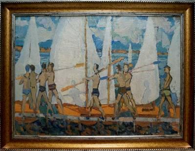 Oil painting Rowers Afanasyev Vladimir Nikolaevich