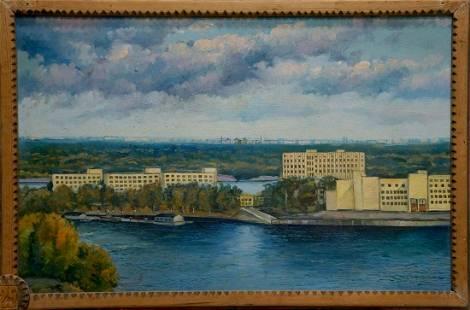 Oil painting Fishing port Filatov Vladimir Nikolaevich