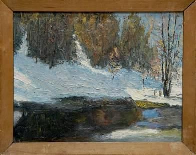Oil painting Winter landscape Kesler M. L.