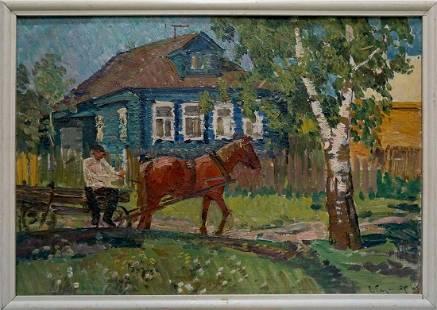 Oil painting Street in the village Baumeister Oleg