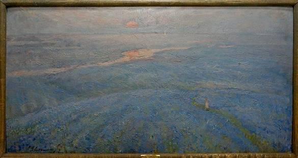 Oil painting Flax blossomed Zvyagintsev Rostislav