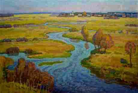 Oil painting River landscape Igor Pavlovich Ruban