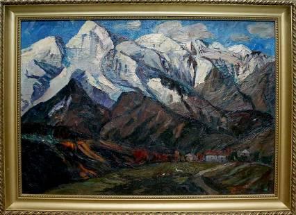 Oil painting Mountains landscape Brendel Olga