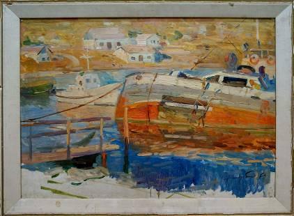 Oil painting In Port Khodchenko Lev Pavlovich