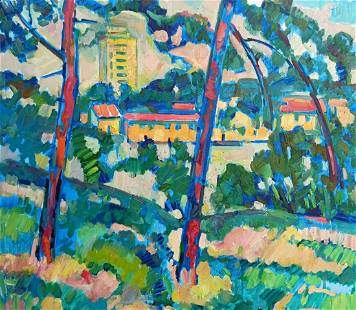 Abstract oil painting City view Peter Tovpev