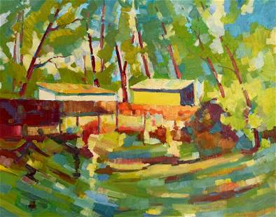 Abstract oil painting House in the forest Peter Tovpev