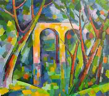 Abstract oil painting Bridge to the forest Peter Tovpev