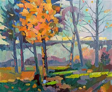 Oil painting Autumn landscape Peter Tovpev
