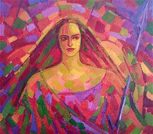Abstract oil painting Portrait of a girl Peter Tovpev