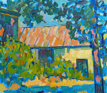 Oil painting Courtyard landscape Peter Tovpev