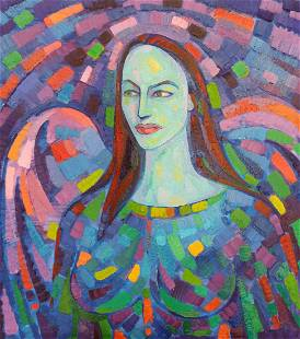Abstract oil painting Valkyrie Peter Tovpev