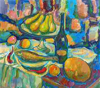Abstract oil painting Still life Peter Tovpev