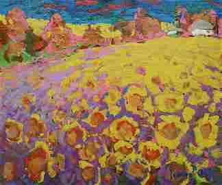 Oil painting Sunflower field Kalenyuk Alex