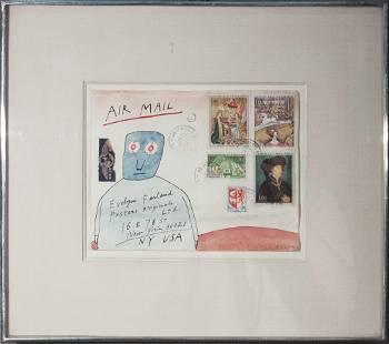 Jean-Michel Folon - Air Mail - 1970 Drawing - SIGNED