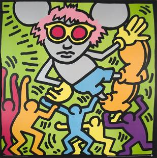 """Keith Haring - Andy Mouse - 1989 Serigraph 38.25"""" x"""