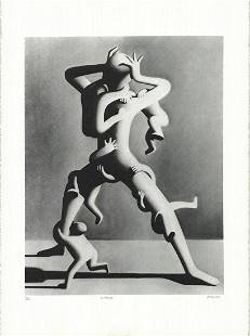 "Mark Kostabi - Climbing - 1988 Lithograph - SIGNED 30"""