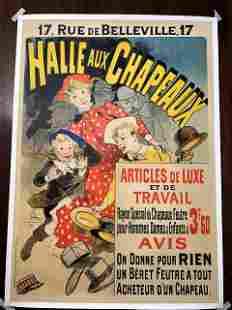 """Halle Aux Chapeaux - Art by Cheret (1888) 34.75"""" x"""