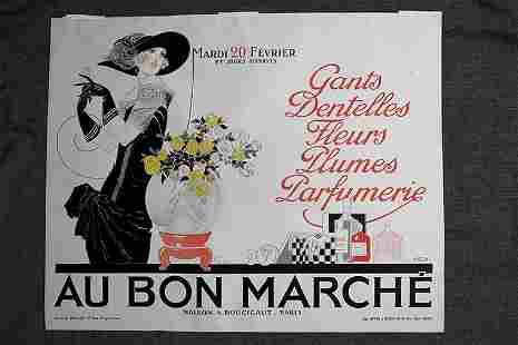 Au Bon Marche - Art by Famous Deco Artist Rene Vincent