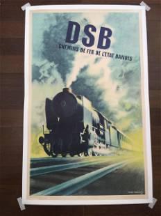 "DSB Trains - Art by Aage Rasmussen (1937) 24.25"" x"