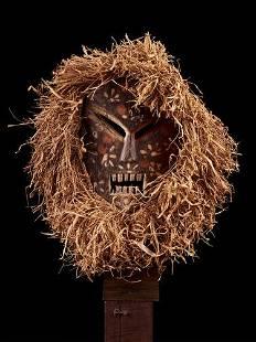 Ituri Ndaaka Mask with Raphia hezddress,DRC