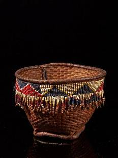 Basket with bead decoration, Grasslands people,
