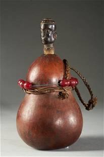 Medecine Calabash decorated with Beads, Zaramo People,