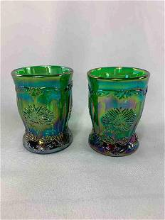 Carnival Glass Green Opalescent Cups