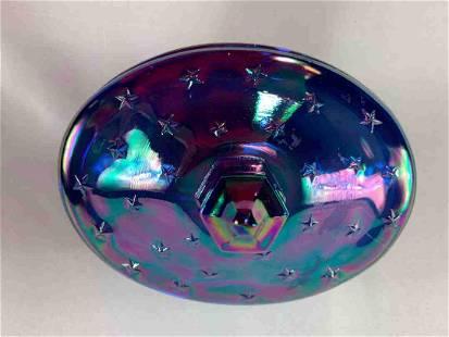 Blue L.E. Smith Carnival Glass Eagle Cover Dish