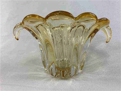 Ornate Gold Tone Glass Vase