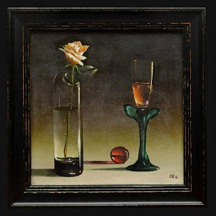 """Shevchuk Yuriy - Painting """"Rose and a Glass with"""