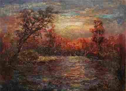 "Makarov Viktor Vasilievich - Painting ""Crimson evening"""