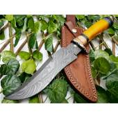 Bowie exclusive pattern work damascus steel knife bone