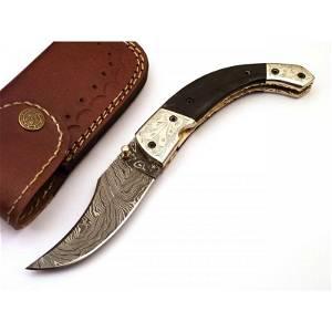 Pocket folding everyday carry damascus steel knife wood