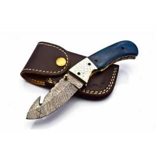 Folding pocket damascus steel knife wood work everyday