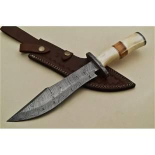 Boot folding bowie hunting damascus steel knife bone