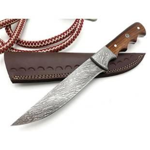 Handmade damascus steel knife skinner rose wood