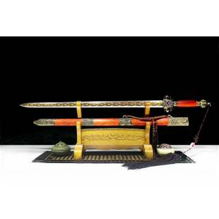Sharp steel sword handmade survival red wood hunting
