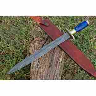 Exclusive pattern damascus steel sword saber glaive