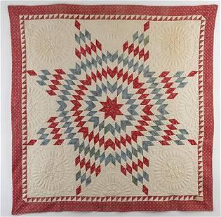 Red, White & Blue Trapunto Star Quilt c.1840