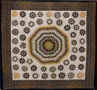 Starburst Quilt Signed Mary H. Barlow 19c