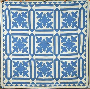 30's Blue & White Fleur De Lis Applique Quilt