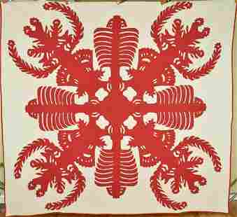 Rare 1920's Red & White Hawaiian Quilt