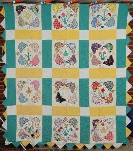 Folky Butterfly Applique Quilt