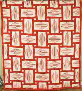 30's Red & White Basket Weave Diamonds Quilt