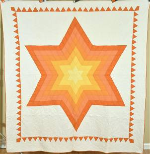 Vibrant Lone Star Quilt, Sunset Colors
