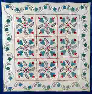 EARLY ANTIQUE RED, TEAL and WHITE APPLIQUE with STUFFED