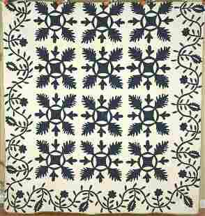 Indigo 1840's Oak Reel Applique Quilt