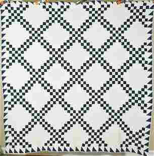 1870's Indigo & White Irish Chain Quilt