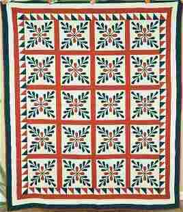 "1870's Red & Green ""Laurel Leaves"" Quilt"
