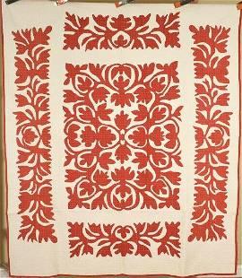 """1880's Red & White """"Scherenschnitte"""" Quilt"""